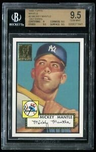 1996 Topps Baseball Mickey Mantle 1952 Retro #2 MLB Beckett 9.5 GEM MINT= PSA 10