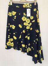 Warehouse Navy Yellow Flower Print Asymmetric Cotton Summer Skirt Size 12 BNWT
