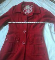 Anthropologie Tulle Wool Coat Red Size Medium