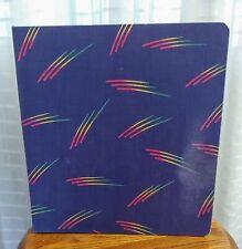 Vintage Mead School 3 Ring Fabric Canvas Binder rainbow stripes retro 1987 GUC