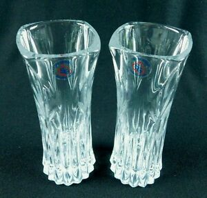 """Toscany Classic Fine Lead Crystal 6.5"""" Bud Vases USA Lot of 2"""
