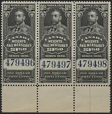 Canada VanDam # FWM68 - $1.50 Weight & Measures MNH strip of 3 - Issue of 1930