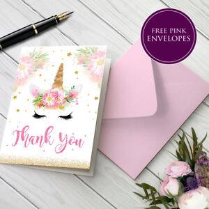 Unicorn Thank You Folded Cards Pack for Birthday Kids Children Girl T03