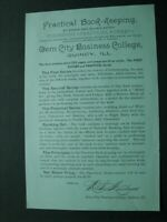 Vintage Gem City Business College - Quincy, Illinois - Book-Keeping Class Flyer