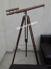 Nautical Brass Telescope Double Barrel Marine Navy With Brown Tripod Stand