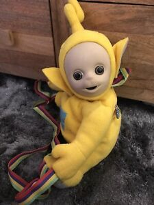 Vintage 1996 Teletubbies yellow Lala Plush Backpack Rucksack Bag retro