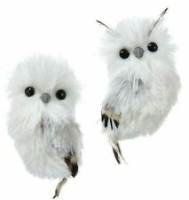 Kurt Adler White and Silver Hanging Owl Christmas Ornament Set - 2 Piece Set