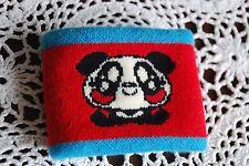 nwot Super Lovers Japan sports tennis cute panda knit fabric blue red wristband