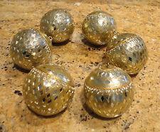Pottery Barn Christmas Ornaments Bulbs Balls Gold Silver Beautiful New Set Six!