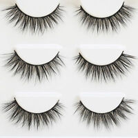 3 Pairs Extension Natural Thick Long Eye Lashes Handmade Cross False Eyelashes
