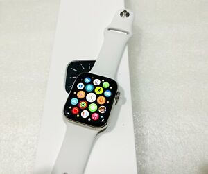 Apple Watch Series 6 44mm Stainless Steel Case White Sport Band - GPS + Cellular