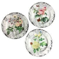 "3 American Atelier 8"" Porcelain Plates ""ROSE TOILE"" w/ Butterflies 5232 Pristine"