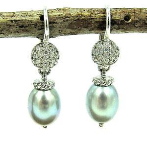 Judith Ripka Drop Dangle Pearl & Diamonique Leverback Sterling Earrings
