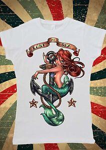 Disney Princess Ariel Little Mermaid Tattoo Women T-Shirt Vest Tank Top W138