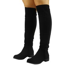Womens Ladies Suede Lycra Mid Calf Flat Knee High Boots Long Low Heel Shoes Size