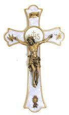 Wall Holy Mass Crucifix 8 inch Enameled Bronze Pewter Vintage Gift Box Catholic