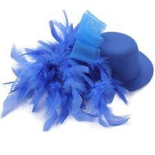 Organza Feder Mini Hut Haarklammer Haarclips Haarspange Blau GY