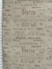 Drapery Upholstery Fabric Railroaded Taupe French Script on Rustic Natural Base