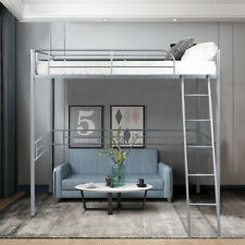 Twin Size Metal Loft Bed Frame Single High Loft Bed W/Ladder & Guard Rail Silver
