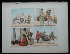 1886 Original Antique Print View Scene of Japan Barber Riksha Lady Hairdresser 3