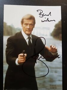 SIR ROGER MOORE (JAMES BOND) HAND SIGNED AUTOGRAPHED 6x4 inch PHOTO, 100% REAL