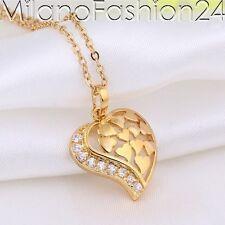 Collar Colgante Corazón Cadena 18 K BAÑADO EN ORO Zirconia Cristal Strass