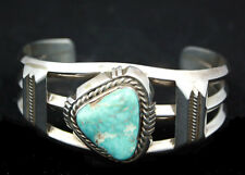 Navajo Bracelet Rare White Dry Creek Turquoise & Sterling Silver Indian