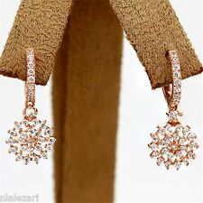 1.00ct  Dangling Diamond Earrings F color VVS1 Clarity Rose gold 18k
