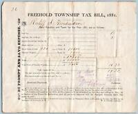 1881 FREEHOLD TOWNSHIP NEW JERSEY*NJ*TAX BILL*HENDRICKSON*CRAIG*HANKINSONS HOTEL