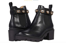 """Steve Madden """"Amulet"""" Booties Black Leather Jewel Encrusted Ankle Strap Size 8"""