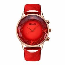 Women's Red Dial Big Face Fashion Luxury Dress Leather Quartz Wrist Watch New