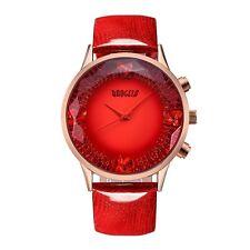 Women's Red Dial Big Face Fashion Luxury Dress Leather Quartz Wrist Watch New