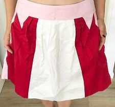 CUE WOMENS SKIRT LINED KNEE LENGHT COTTON BLEND PINK RED WHITE WORK SZ 12