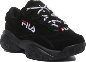 Fila Provenance Womens Suede Chunky Trainers In Black Mono UK Sizes 3 - 8