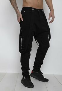 DeMina Dungaree style drop crotch jeans black brace -detachable braces