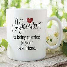 Mug Happiness Verheiratetes Bester Freund Valentinstag Hochzeit Cup WSDMUG313