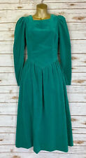 Vtg LAURA ASHLEY Great Britain Green Velvet Full Dress Sz 8 US 10 UK Pockets
