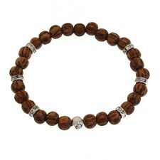 """Bracelet Skull """" Small """" (Silver 925) Pearl Wood Of Palm Tree & Crystal"""