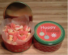 "2-LBS GIFT TIN ""HAPPY HOLIDAYS"" OF OLD SCHOOL PEACH BUDS CANDY W/COCONUT CENTER"