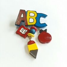 Education Occupation Primary G60 Painted Wood Teacher Pin Abc