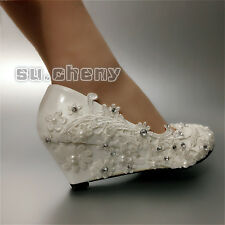 White light ivory lace wedge pearls Wedding shoes heels pumps Bridal size 5-12