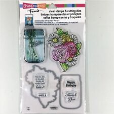 Stampendous Hello Mason Jar Flowers Clear STAMPS & Cutting Dies CSD04 7218