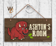 Red Dinosaur Sign, Personalized Sign, Kid's Name, Kids Door Sign, 5x10 Sign
