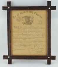 ORIGINAL NAMED CIVIL WAR FRAMED DISCHARGE PAPERS-SURGEON DISABILITY DISCHARGE