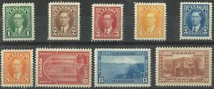 Canada 1937-38 KGVI Pictorials Short Set of 9 Stamps To 20c SG357/65 MLH #7-7