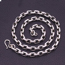 """Genuine 925 Sterling Thai Silver Angle Loop Chain Men Heavy Necklace 8mm 20""""-26"""""""