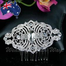 SALE Vintage Silvery Bridal Hair Comb Rhinestone Crystal Wedding Formal HC-9
