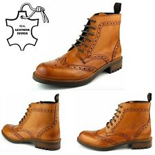NEW MENS REAL LEATHER CHELSEA DEALER BROGUE TAN ANKLE BOOTS WORK SHOES SIZE