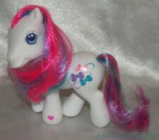 Rare 2005 MY LITTLE PONY G3 White BOWTIE Figure Hot Pink Streaks Hairbows Cutie
