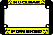 yellow NUCLEAR POWERED  Motorcycle License Plate Frame